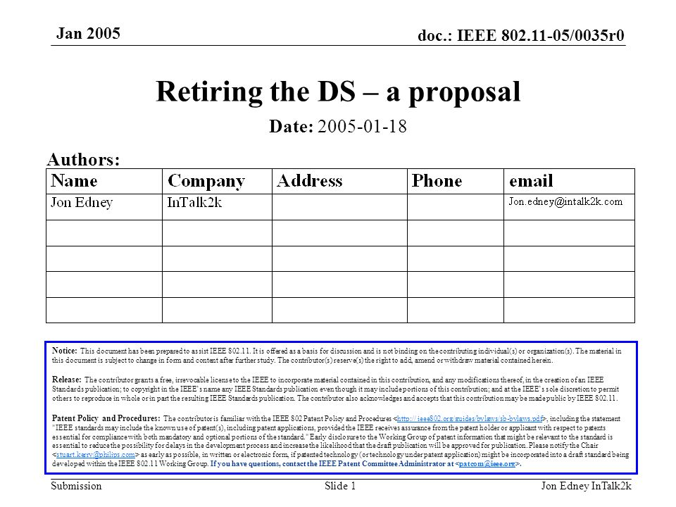doc.: IEEE 802.11-05/0035r0 Submission Jan 2005 Jon Edney InTalk2kSlide 1 Retiring the DS – a proposal Notice: This document has been prepared to assist IEEE 802.11.