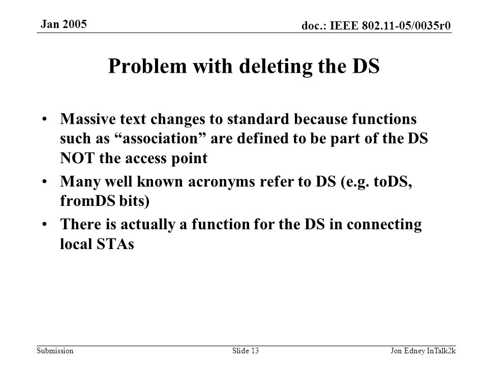 doc.: IEEE 802.11-05/0035r0 Submission Jan 2005 Jon Edney InTalk2kSlide 13 Problem with deleting the DS Massive text changes to standard because funct