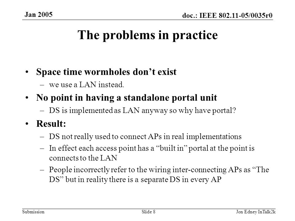 doc.: IEEE 802.11-05/0035r0 Submission Jan 2005 Jon Edney InTalk2kSlide 9 Use of the DS in practice STA DS Portal STA DS Portal STA DS Portal Bridge