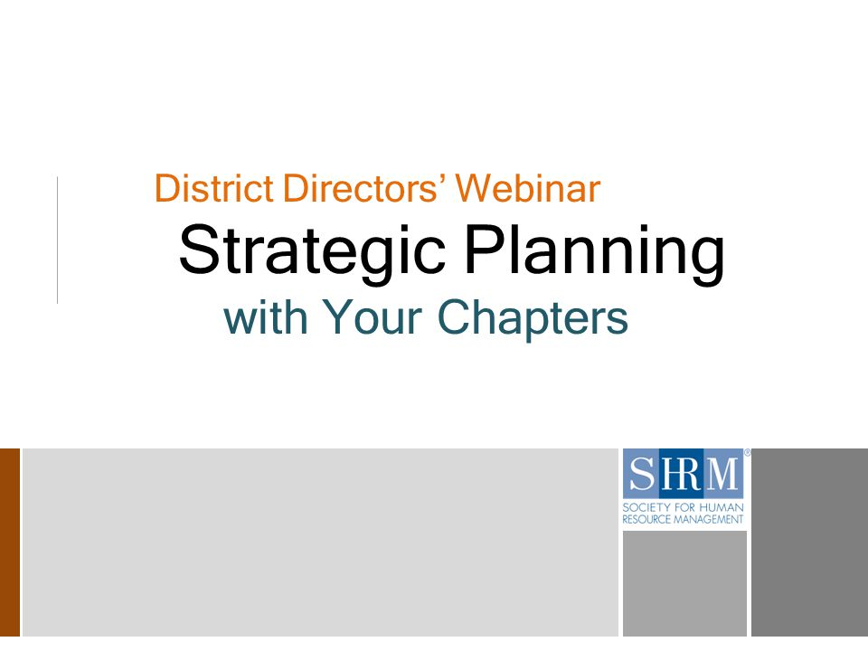 District Directors' Webinar Strategic Planning with Your Chapters