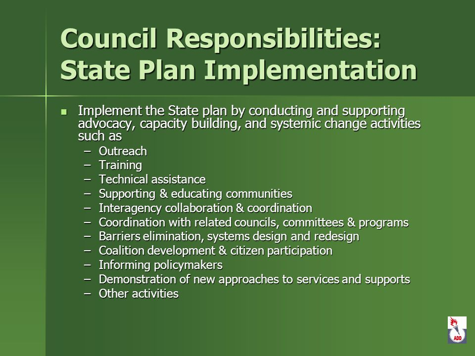 Council Responsibilities: State Plan Implementation Implement the State plan by conducting and supporting advocacy, capacity building, and systemic change activities such as Implement the State plan by conducting and supporting advocacy, capacity building, and systemic change activities such as –Outreach –Training –Technical assistance –Supporting & educating communities –Interagency collaboration & coordination –Coordination with related councils, committees & programs –Barriers elimination, systems design and redesign –Coalition development & citizen participation –Informing policymakers –Demonstration of new approaches to services and supports –Other activities
