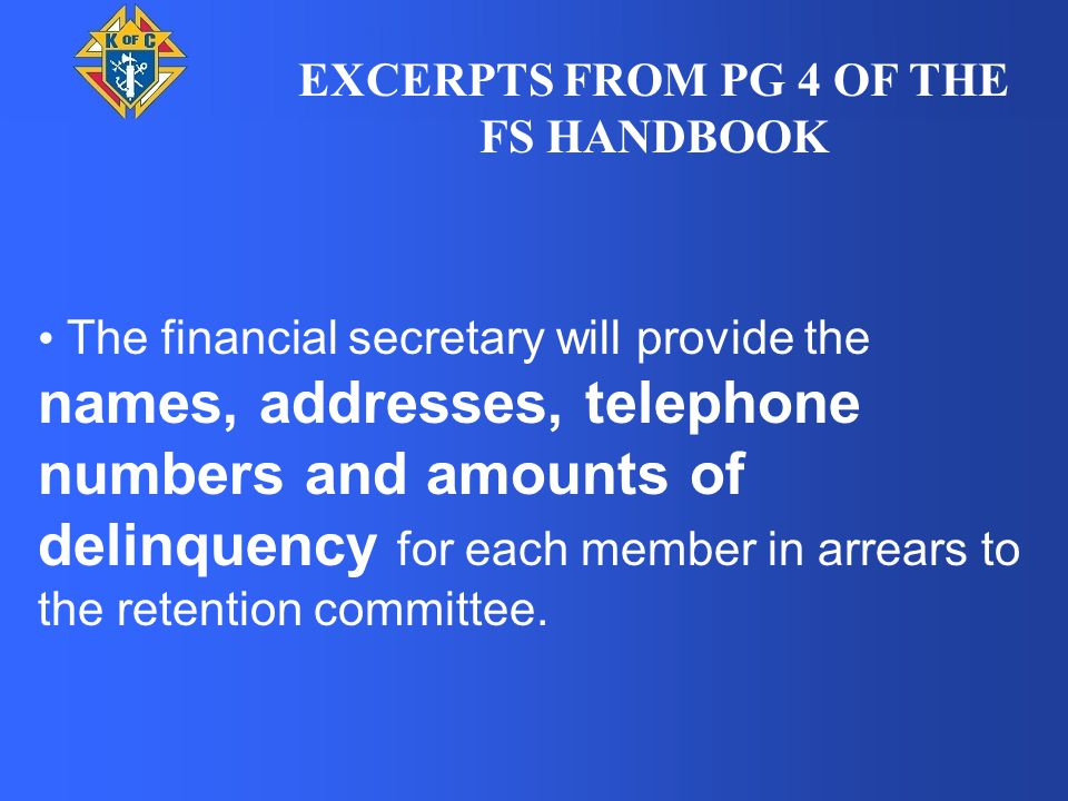 The top portion is populated with information about the brother by the Financial Secretary as he has the information and sends the first three notices.