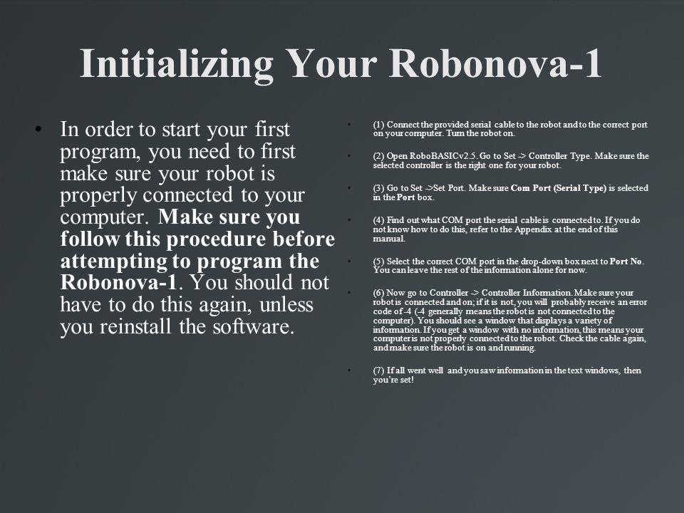 Using RoboBASIC v2.5