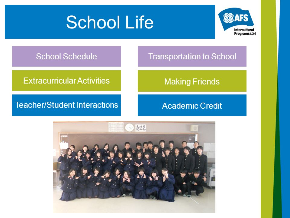 School Life School Schedule Teacher/Student Interactions Extracurricular Activities Transportation to School Making Friends Academic Credit
