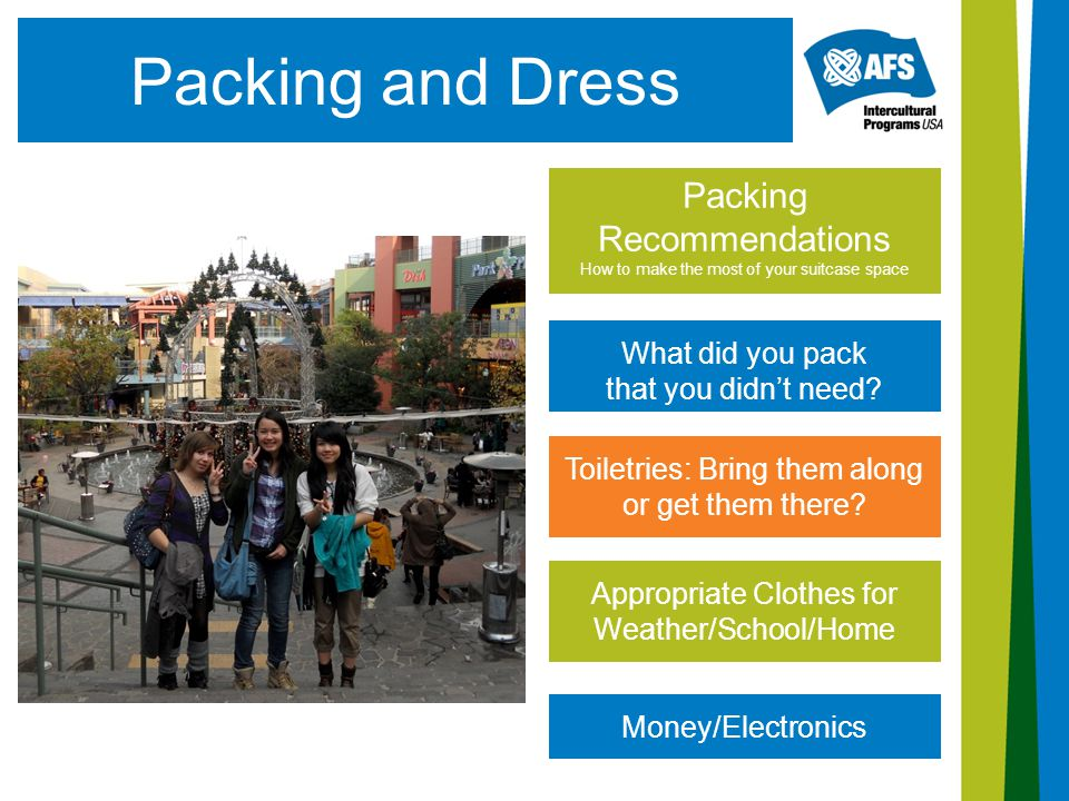 Packing and Dress Packing Recommendations How to make the most of your suitcase space What did you pack that you didn't need? Money/Electronics Approp