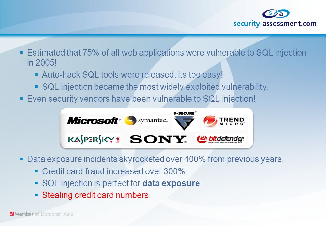  Estimated that 75% of all web applications were vulnerable to SQL injection in 2005.