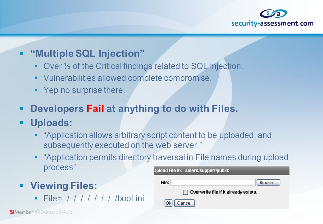  Multiple SQL Injection  Over ½ of the Critical findings related to SQL injection.