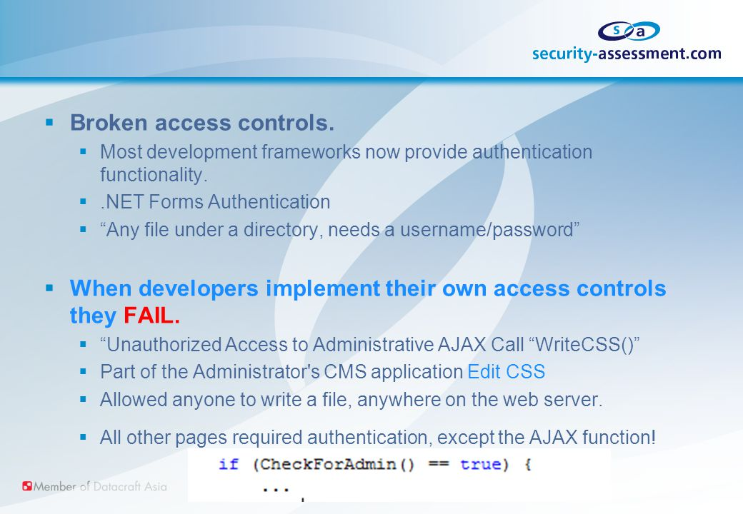  Broken access controls.  Most development frameworks now provide authentication functionality.