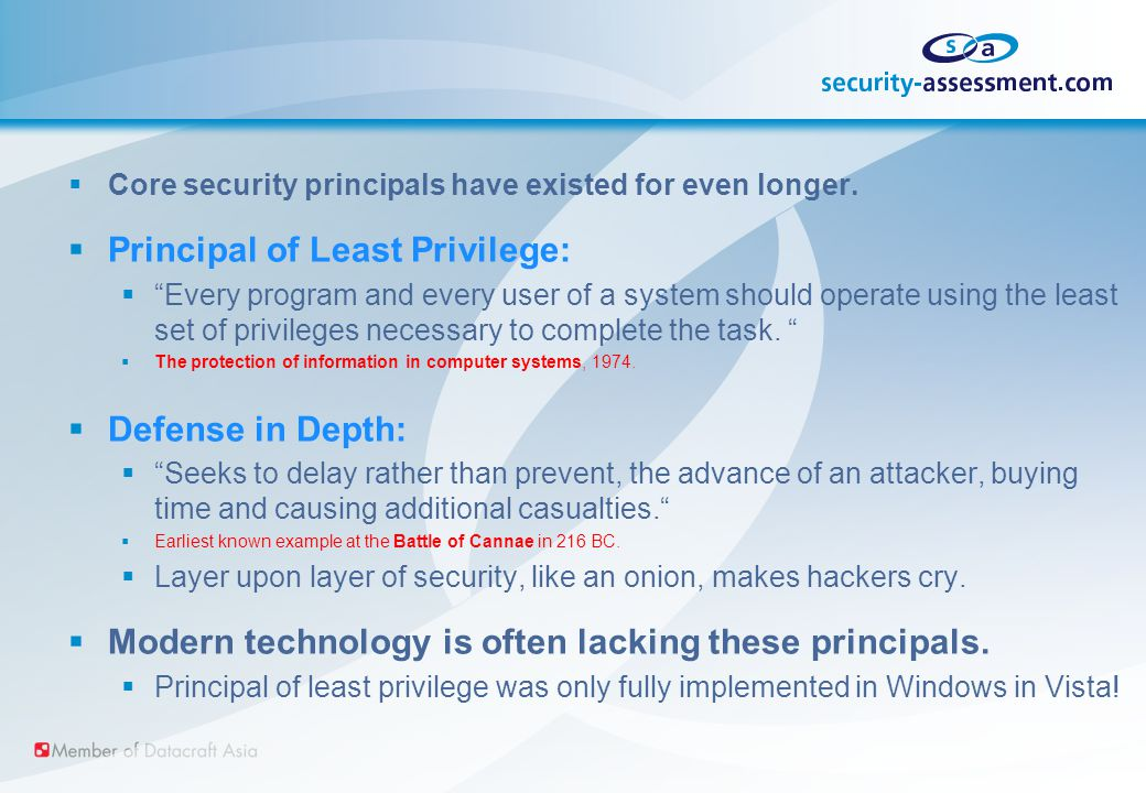  Core security principals have existed for even longer.