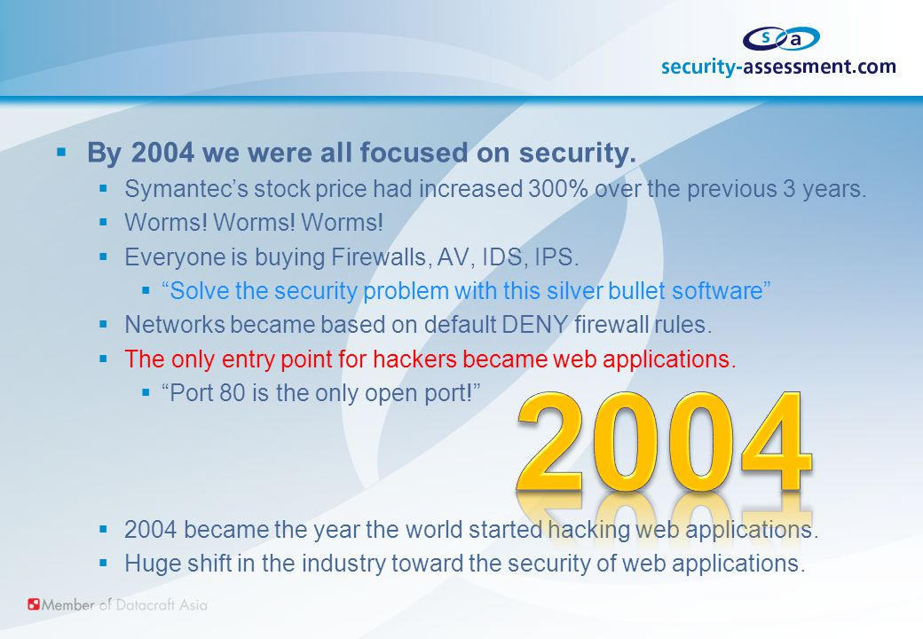  By 2004 we were all focused on security.