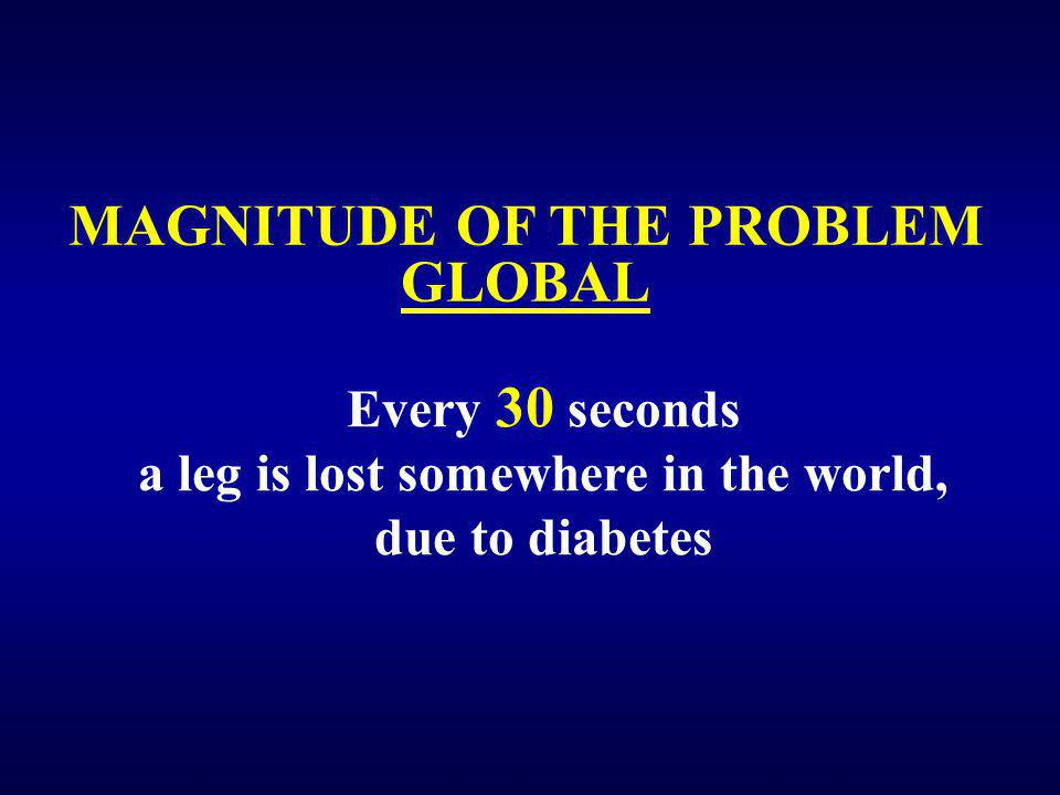 MAGNITUDE OF THE PROBLEM GLOBAL Every 30 seconds a leg is lost somewhere in the world, due to diabetes