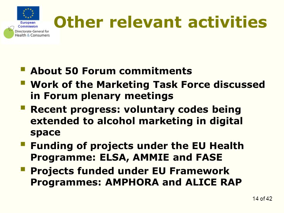 European Commission 14 of 42 Other relevant activities  About 50 Forum commitments  Work of the Marketing Task Force discussed in Forum plenary meetings  Recent progress: voluntary codes being extended to alcohol marketing in digital space  Funding of projects under the EU Health Programme: ELSA, AMMIE and FASE  Projects funded under EU Framework Programmes: AMPHORA and ALICE RAP
