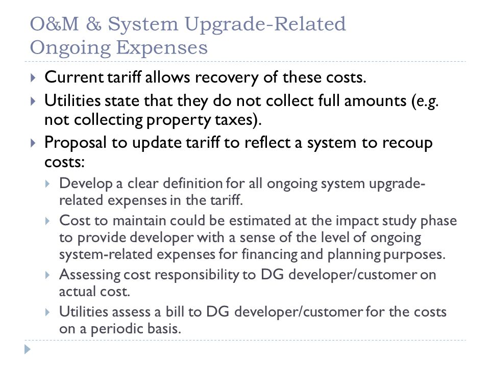 Other Issues  Staffing  Utility accounting and recovery.