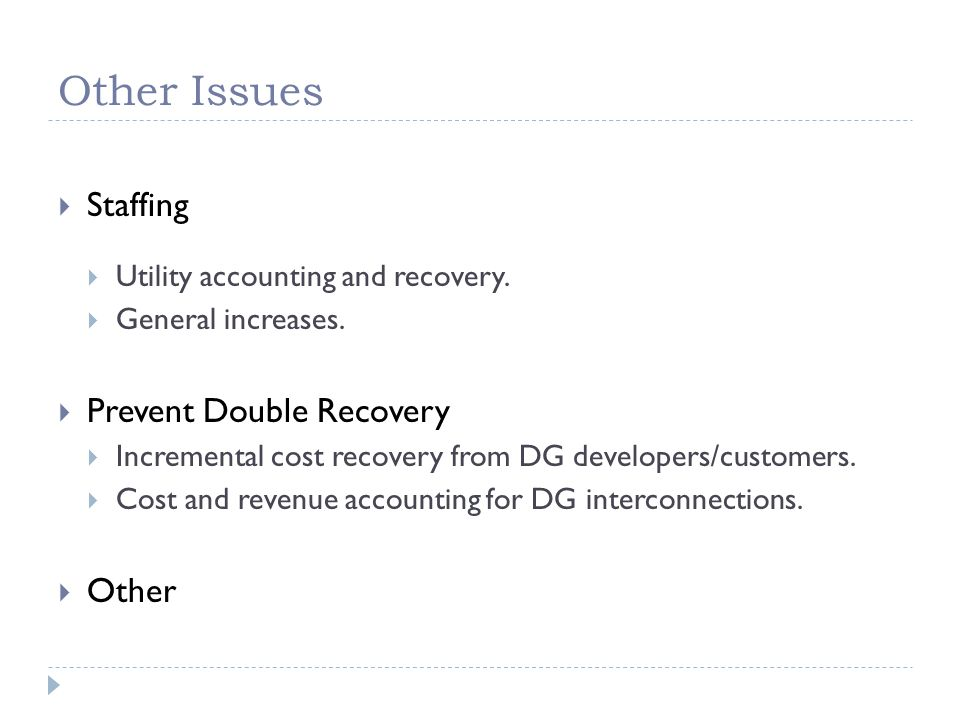 Other Issues  Staffing  Utility accounting and recovery.