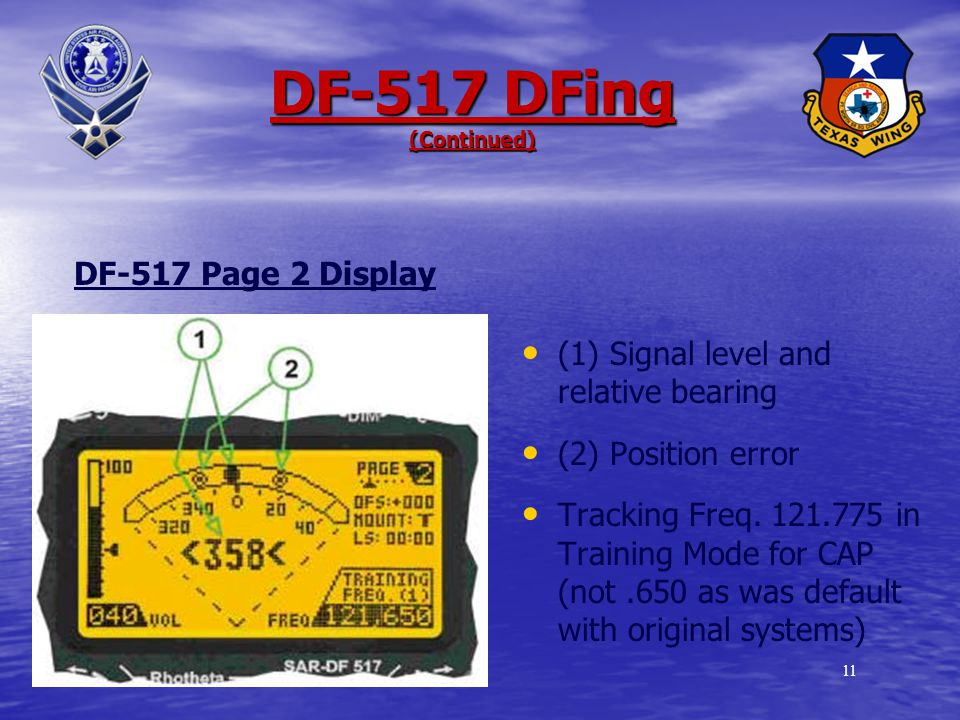 10 DF-517 DFing (Continued) (1) The signal and relative bearing (2) Signal Strength (3) Squelch level (4) Tracking frequency 406.025 in Emergency mode Note that to DF a signal, the squelch level must be below the maximum signal strength DF-517 Page 1 Display