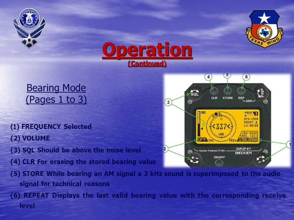 Operation (1) ON/OFF (2) PAGE (3) MODE Indication of the actual operation mode (4) ARU Version Software version and serial number of antenna-receiver Unit (5) CDU Version Software version and serial number of control-display Unit Power-On And Operation Modes Emergency Or Training