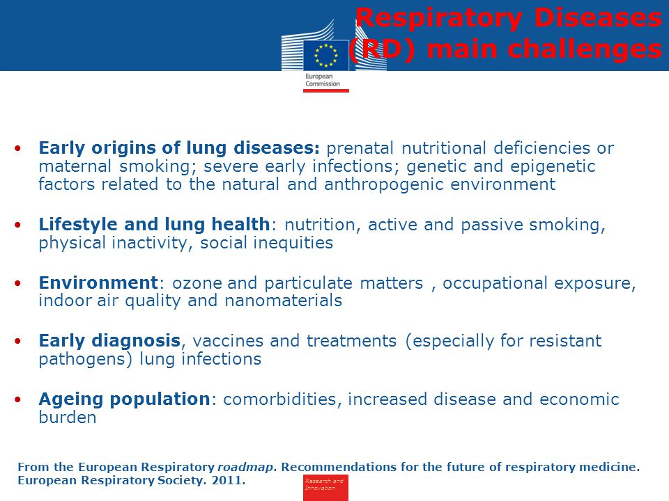 Research and Innovation Early origins of lung diseases: prenatal nutritional deficiencies or maternal smoking; severe early infections; genetic and epigenetic factors related to the natural and anthropogenic environment Lifestyle and lung health: nutrition, active and passive smoking, physical inactivity, social inequities Environment: ozone and particulate matters, occupational exposure, indoor air quality and nanomaterials Early diagnosis, vaccines and treatments (especially for resistant pathogens) lung infections Ageing population: comorbidities, increased disease and economic burden Respiratory Diseases (RD) main challenges From the European Respiratory roadmap.