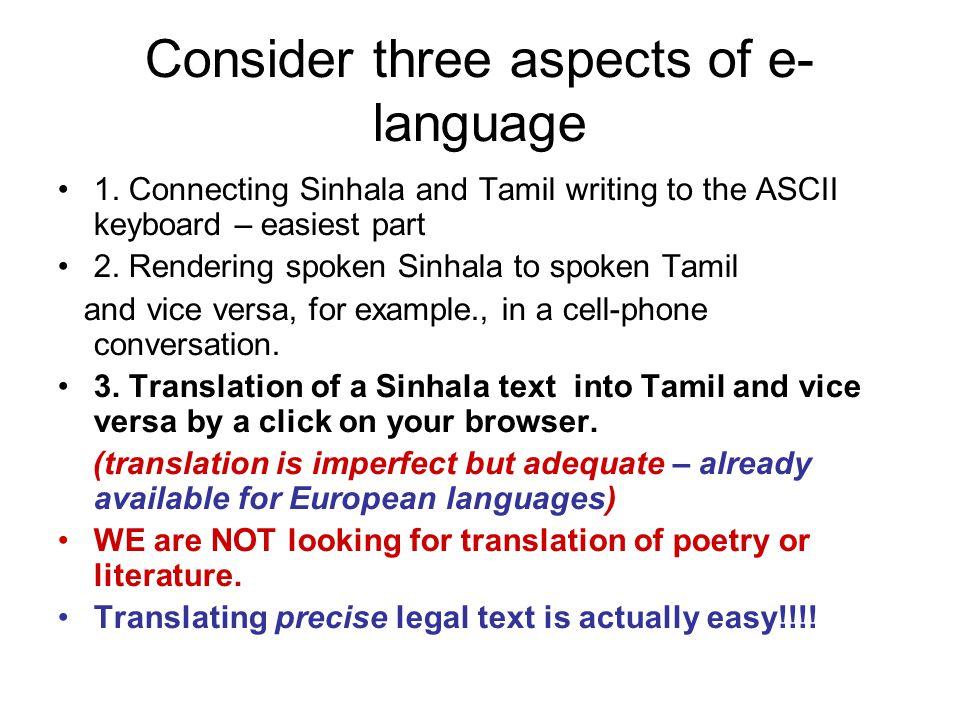 Consider three aspects of e- language 1.