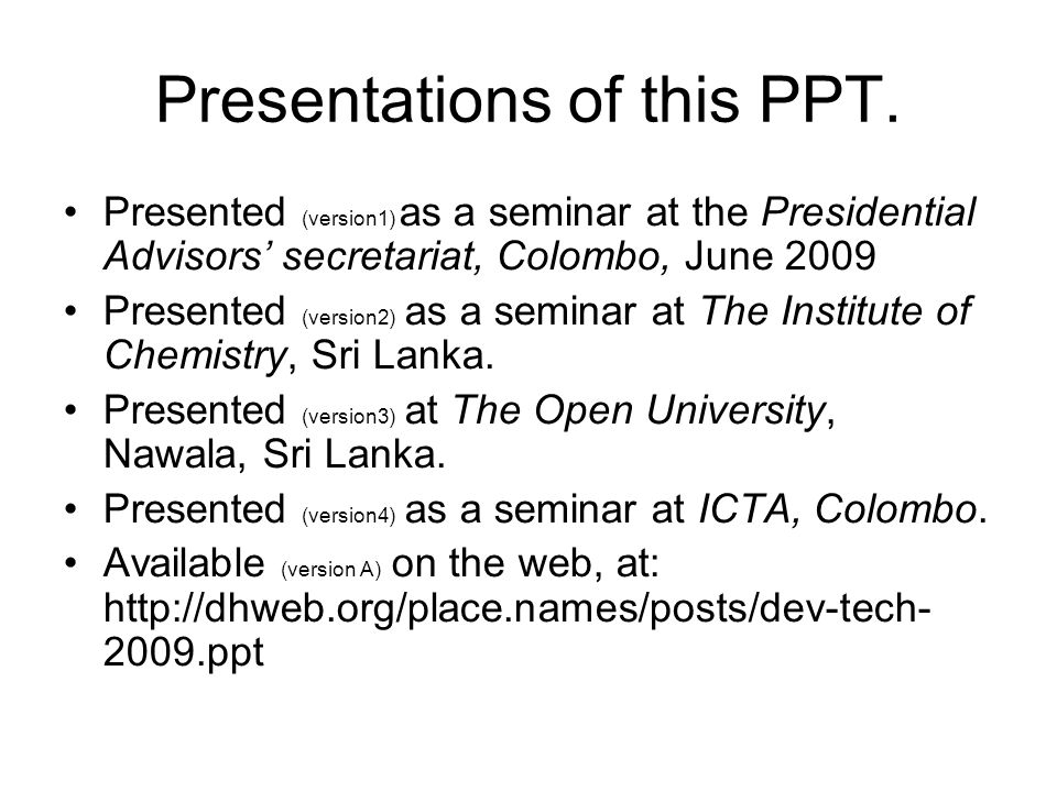 Presentations of this PPT.