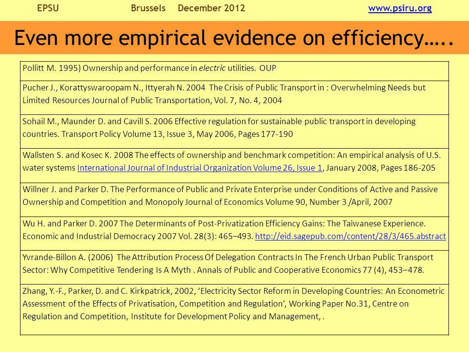 EPSU BrusselsDecember 2012 www.psiru.orgwww.psiru.org Even more empirical evidence on efficiency…..