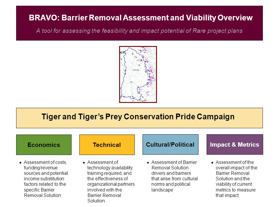 A tool for assessing the feasibility and impact potential of Rare project plans BRAVO: Barrier Removal Assessment and Viability Overview Tiger and Tiger's Prey Conservation Pride Campaign EconomicsTechnical Cultural/PoliticalImpact & Metrics Assessment of costs, funding/revenue sources and potential income substitution factors related to the specific Barrier Removal Solution Assessment of technology availability, training required, and the effectiveness of organizational partners involved with the Barrier Removal Solution Assessment of Barrier Removal Solution drivers and barriers that arise from cultural norms and political landscape Assessment of the overall impact of the Barrier Removal Solution and the viability of current metrics to measure that impact