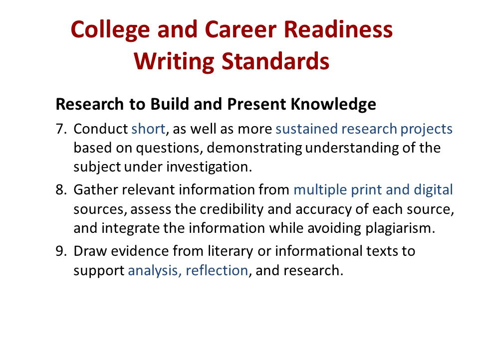 College and Career Readiness Writing Standards Research to Build and Present Knowledge 7.Conduct short, as well as more sustained research projects ba