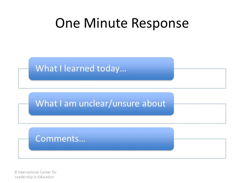 One Minute Response What I learned today…What I am unclear/unsure aboutComments…  International Center for Leadership in Education