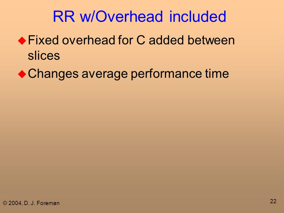 © 2004, D. J. Foreman 22 RR w/Overhead included  Fixed overhead for C added between slices  Changes average performance time