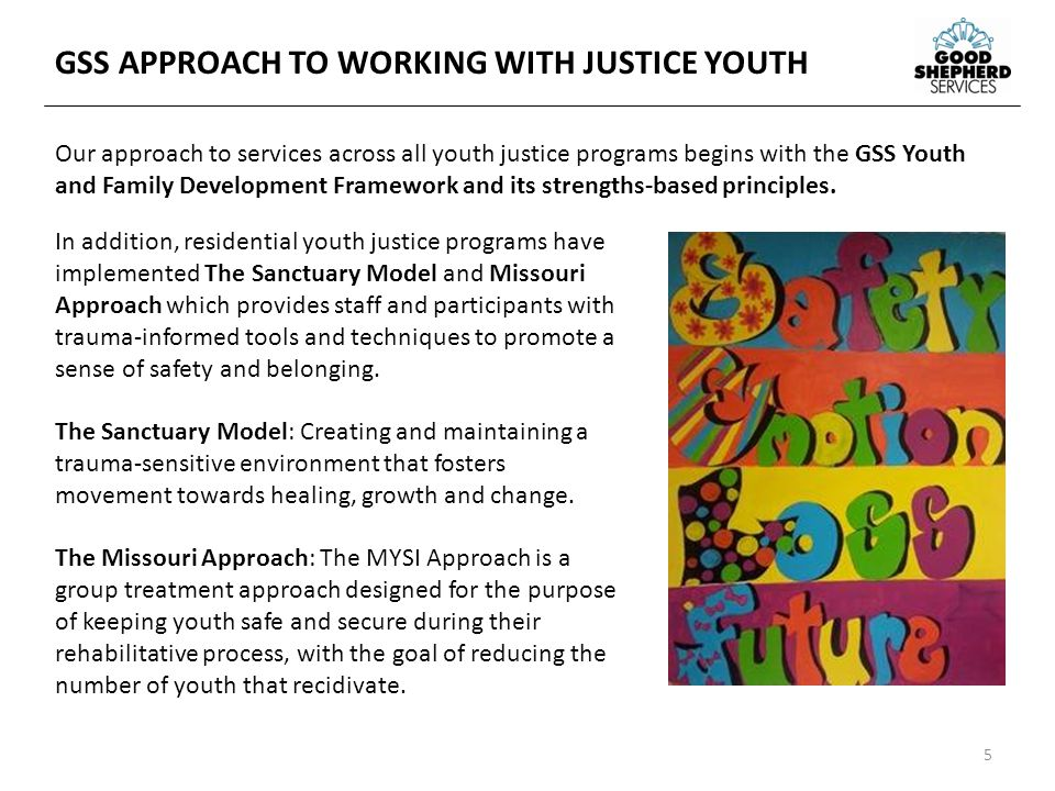 In addition, residential youth justice programs have implemented The Sanctuary Model and Missouri Approach which provides staff and participants with trauma-informed tools and techniques to promote a sense of safety and belonging.