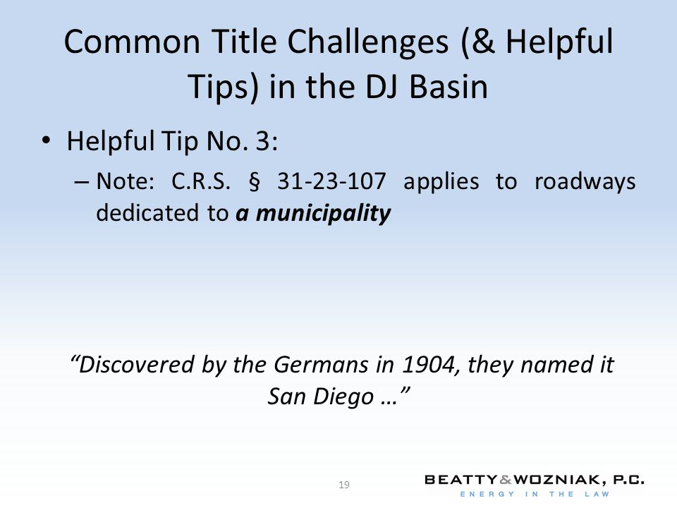 Common Title Challenges (& Helpful Tips) in the DJ Basin Helpful Tip No.