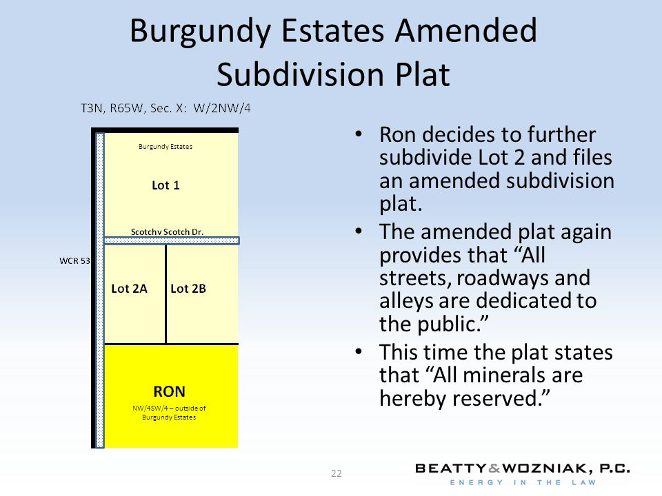 Burgundy Estates Amended Subdivision Plat Ron decides to further subdivide Lot 2 and files an amended subdivision plat.