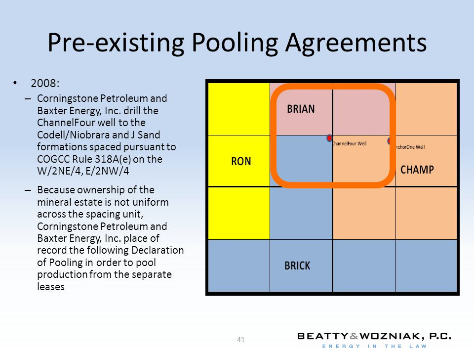 Pre-existing Pooling Agreements 41 2008: – Corningstone Petroleum and Baxter Energy, Inc.