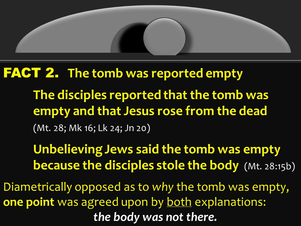 FACT 2. FACT 2. The tomb was reported empty The disciples reported that the tomb was empty and that Jesus rose from the dead (Mt. 28; Mk 16; Lk 24; Jn