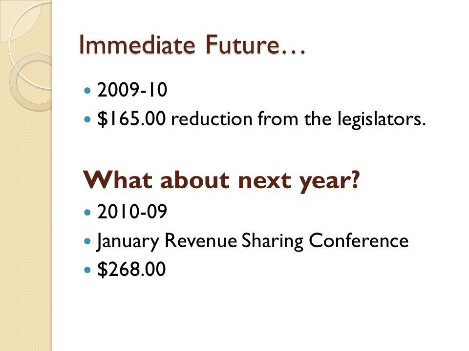Immediate Future… 2009-10 $165.00 reduction from the legislators.