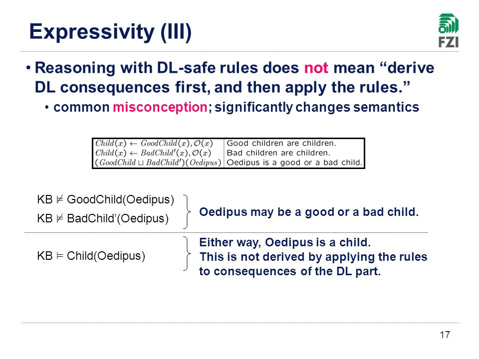 17 Reasoning with DL-safe rules does not mean derive DL consequences first, and then apply the rules. common misconception; significantly changes semantics Oedipus may be a good or a bad child.