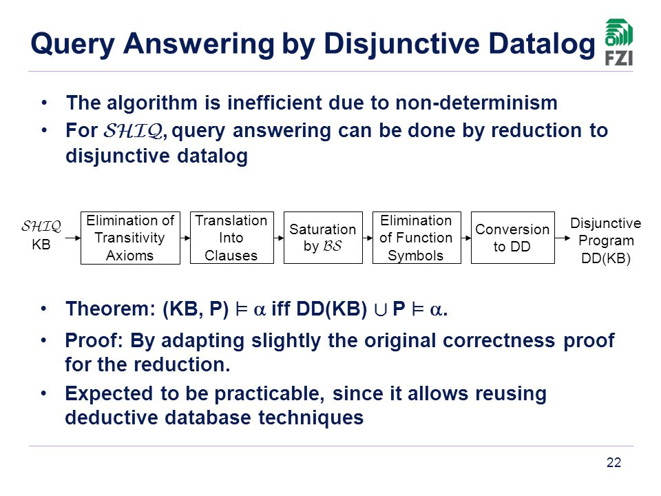 22 Query Answering by Disjunctive Datalog Theorem: (KB, P) ²  iff DD(KB) [ P ² . Proof: By adapting slightly the original correctness proof for the