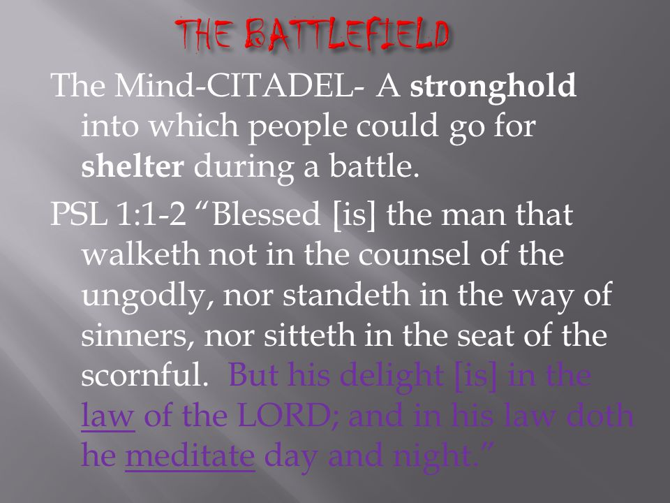 The Mind-CITADEL- A stronghold into which people could go for shelter during a battle.