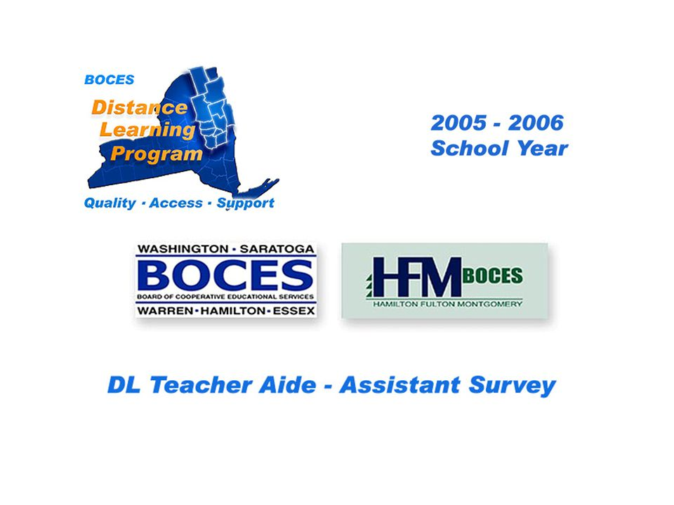 HFM SAN Distance Learning Project DL Aide - Assistant Survey 2005 – 2006 School Year... BOCES Distance Learning Program Quality Access Support
