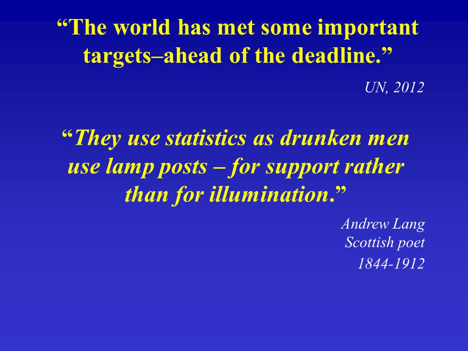 """They use statistics as drunken men use lamp posts – for support rather than for illumination."" ""The world has met some important targets–ahead of the"