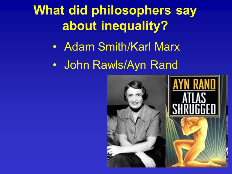Adam Smith/Karl Marx John Rawls/Ayn Rand What did philosophers say about inequality?