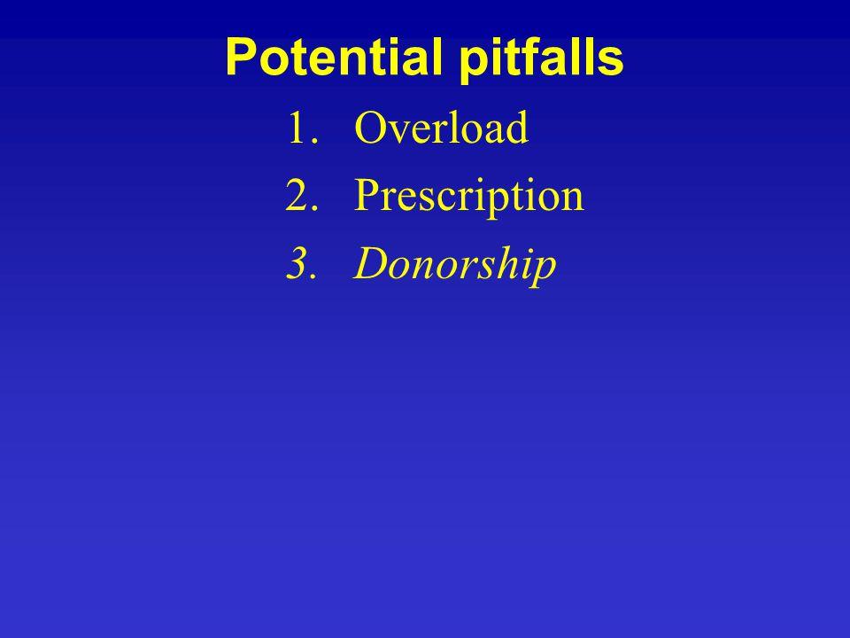Potential pitfalls 1.Overload 2.Prescription 3.Donorship