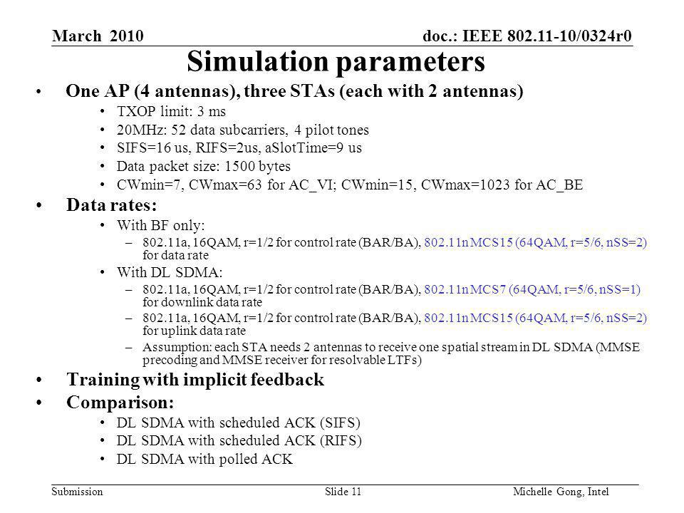 doc.: IEEE 802.11-10/0324r0 Submission Slide 11Michelle Gong, Intel March 2010 Simulation parameters One AP (4 antennas), three STAs (each with 2 antennas) TXOP limit: 3 ms 20MHz: 52 data subcarriers, 4 pilot tones SIFS=16 us, RIFS=2us, aSlotTime=9 us Data packet size: 1500 bytes CWmin=7, CWmax=63 for AC_VI; CWmin=15, CWmax=1023 for AC_BE Data rates: With BF only: –802.11a, 16QAM, r=1/2 for control rate (BAR/BA), 802.11n MCS15 (64QAM, r=5/6, nSS=2) for data rate With DL SDMA: –802.11a, 16QAM, r=1/2 for control rate (BAR/BA), 802.11n MCS7 (64QAM, r=5/6, nSS=1) for downlink data rate –802.11a, 16QAM, r=1/2 for control rate (BAR/BA), 802.11n MCS15 (64QAM, r=5/6, nSS=2) for uplink data rate –Assumption: each STA needs 2 antennas to receive one spatial stream in DL SDMA (MMSE precoding and MMSE receiver for resolvable LTFs) Training with implicit feedback Comparison: DL SDMA with scheduled ACK (SIFS) DL SDMA with scheduled ACK (RIFS) DL SDMA with polled ACK