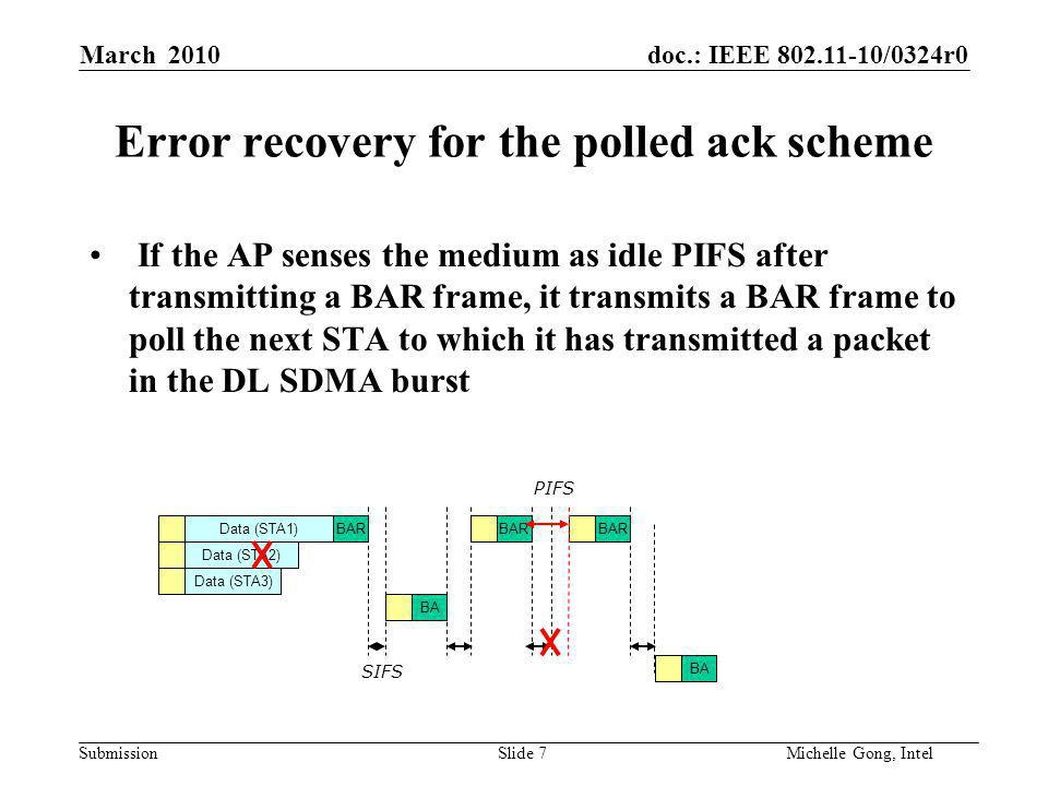 doc.: IEEE 802.11-10/0324r0 Submission Slide 7Michelle Gong, Intel March 2010 Error recovery for the polled ack scheme If the AP senses the medium as idle PIFS after transmitting a BAR frame, it transmits a BAR frame to poll the next STA to which it has transmitted a packet in the DL SDMA burst Data (STA1) Data (STA3) Data (STA2) BA BAR SIFS PIFS