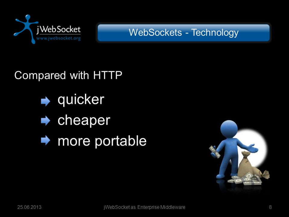 Compared with HTTP quicker cheaper more portable jWebSocket as Enterprise Middleware825.06.2013 WebSockets - Technology