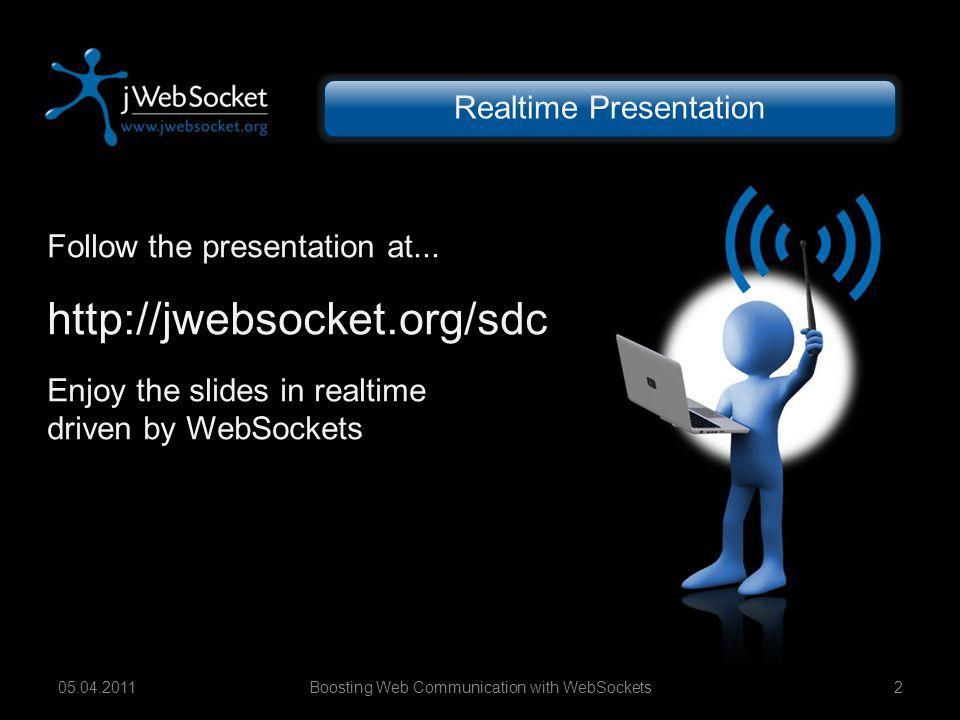 Boosting Web Communication with WebSockets1305.04.2011 WebSockets – Interoperability jWebSocket Framework WebSocket Services WebSocket Apps X-Browser-Compatibility Native Support in Chrome 4+, FF 4, Safari 5, Opera 11 Flash-Fallback for IE and older Browsers Long-Polling or Comet Fallback