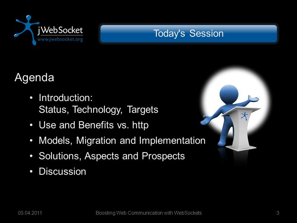 jWebSocket Framework WebSocket Services WebSocket Apps Boosting Web Communication with WebSockets1405.04.2011 WebSockets – Interoperability X-Platform-Compatibility Android (Dalvik VM) iPad/iPhone (iOS) Symbian/BlackBerry (Java ME) Windows Phone and Samsung Bada pending