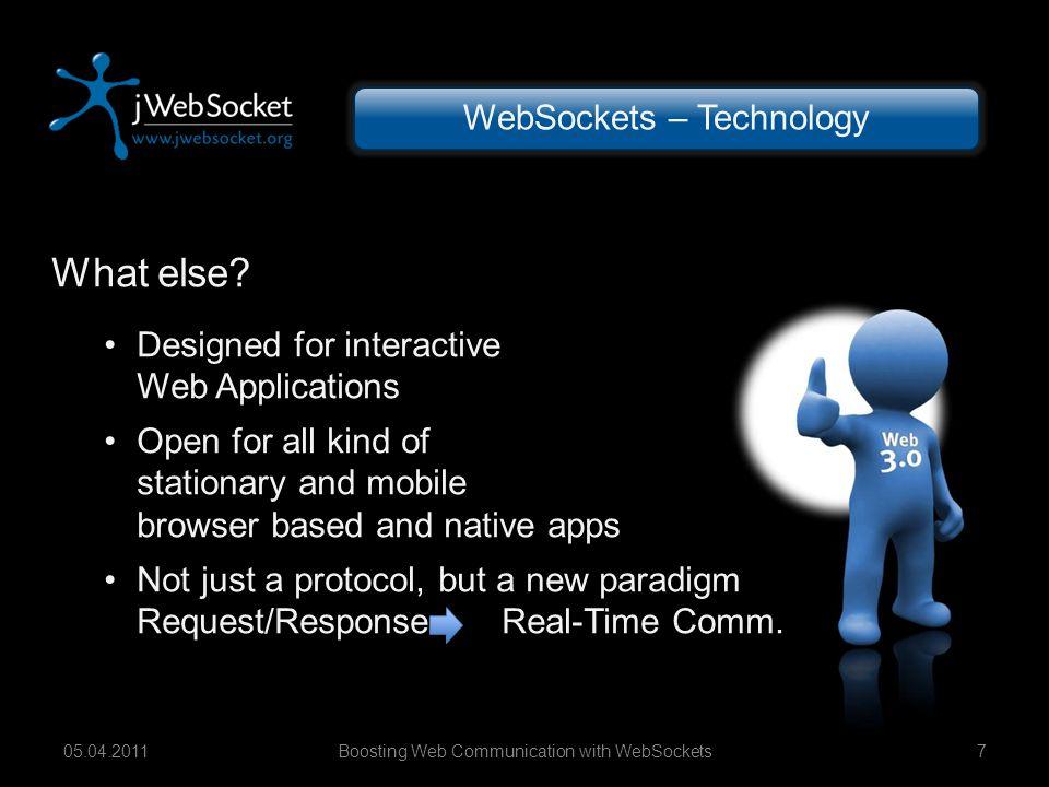 Boosting Web Communication with WebSockets1805.04.2011 WebSockets – Models Synchronization Backbone Client Node 3 Node 2 Node 1 Re- director Load Bal.