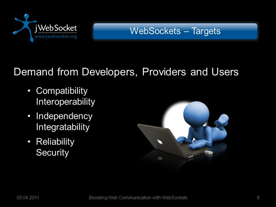 Boosting Web Communication with WebSockets1905.04.2011 jWebSocket Plug-ins JDBC, SMTP, XMPP Remote Procedure Calls C2S-, S2C-, C2C- RPCs Object-, Filesharing Logging, Stats, Admin Chat, Stream, Twitter WebSocket – Plug-ins JDBC SMTP XMPP RPC...