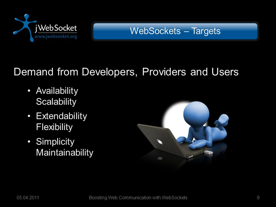 Demand from Developers, Providers and Users Availability Scalability Extendability Flexibility Simplicity Maintainability Boosting Web Communication with WebSockets905.04.2011 WebSockets – Targets