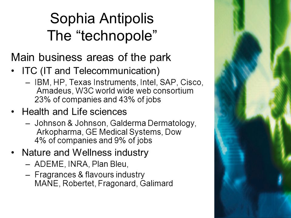 Research & Development More than 40% of Sophia Antipolis based firms pursue R&D activities 4000 researchers Public research centres INSERM, CNRT, INRIA …